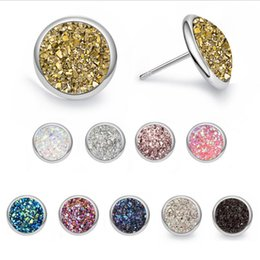studs 12mm NZ - Silver Plated Druzy Drusy Earrings Round 12mm Resin Cabochon Stud Earrings for Women Jewelry Gift