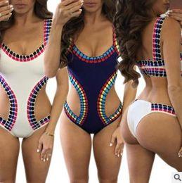 sexy one piece swimwear triangle 2018 - Summer women bikini Sexy Printed Beach Multicolor Triangle Swimsuit White contrast color bikini One piece swimwear cheap