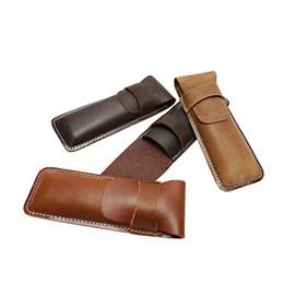 Neues Muster Top-Schicht Leder Werkzeugtasche Retro-Trend Männliche und weibliche Universal-Stifttasche Personalisierte Anpassung Echtes Leder im Angebot