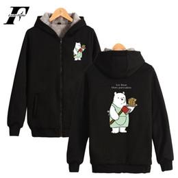 Ingrosso We Bare Bears U.S.A Felpe con cappuccio uomo Superare spessore Aumentare Giù maglione con cerniera