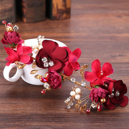 gold hair side clip NZ - New bride headwear red flowers side clip toast accessories accessories
