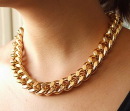 Discount matching necklaces - Fashion Punk Simple All-match Thick Major Suit Coarse Chain Choker Necklace Chunky Curb Chain Gold Silver Jewelry for Wo
