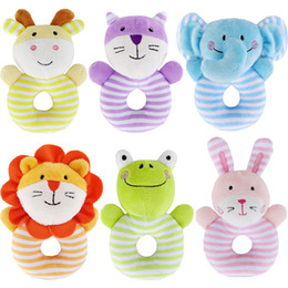 wholesale music plush toys NZ - JJOVCE Baby Rattle Toys Soft Stuffed Cartoon Animal Handle Plush Doll Music Rattle Toy Newborn Handbells