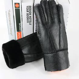 $enCountryForm.capitalKeyWord Australia - Men' Sheepskin Gloves Genuine Leather Real Sheepskin Black Touch Screen Gloves Fashion Brand Winter Warm Mittens New 26.5*12cm