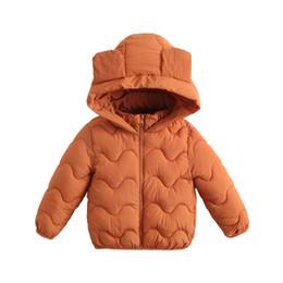 bear ears jacket 2019 - Winter Girls Parkas Long Sleeve Bear Ear Thick Warm Outerwear Boys Fashion Hooded Jacket Children's Clothing H0317