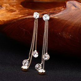 $enCountryForm.capitalKeyWord NZ - New Fashion Drop Rhinestone Earrings Brief Personality Tassel Long Design Sparkling Crystal Earrings