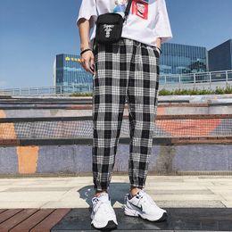 thin cotton trousers 2019 - Casual Japan Style Elastic Waist Cotton Thin Ankle Length Men Pants 2018 Summer Lattice Leisure Haren Loose Male Trouser