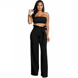 b8909b30221 Sexy Solid 2 Piece Set Women Off Shoulder Strapless Crop Top+Ruffles Long  Wide Leg Pant Summer Outfit Two Pcs Tracksuits
