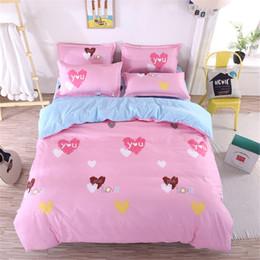 Pink Green Girls Bedding Canada - Sweet Love cartoon pink Bedding Sets Duvet Cover blue Flat Sheet Pillowcases twin Full Queen King Size 4Pcs Bedding girls gift