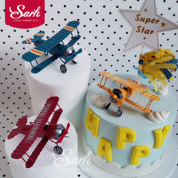 Discount cute cakes for birthday - Red Blue Yellow Retro Airplane Cake Decorations Birthday Party Decorations for Baking Cute Gifts