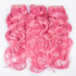 Ombre Wet Wavy Hair UK - Pretty Color Pink Brazilian Wet Wavy Human Hair Bundles 3Pcs lot Water Wave Pure Color Hair Weft Extension 300g