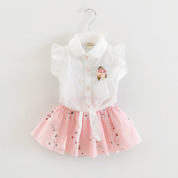 e69884b4f9f41 baby clothes girls flower shirt tops+floral skirt clothing set girl s  outfits children suit kids summer boutique clothes