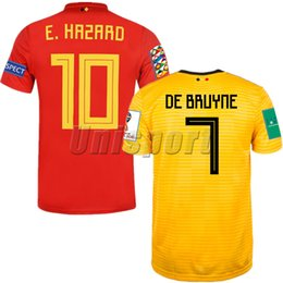 1c35cdeb368 World Cup 2018 Belgium Home Away Men s Soccer Jerseys Hazard De Bruyne Futbol  Camisa Belgique Football Camisetas Shirt Kit Maillot