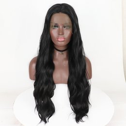 Chinese  Top Fashion Long Wavy Synthetic Lace Front Wigs with Baby Hair High Temperature 180% Density Fiber Black Synthetic Lace Wig For Black Women manufacturers