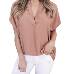 7fa11c8a47 Hot Summer Autumn Chiffon Blouse Women Sexy V Neck Batwing Sleeve Ladies  Tops Tees Soild Casual Office Shirt Blusa Plus Size XL