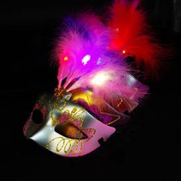 $enCountryForm.capitalKeyWord Australia - LED Party Mask Face Novelty Glowing Gold Powder Princess Feather Mask PVC Masquerade Venetian Halloween Party Mask