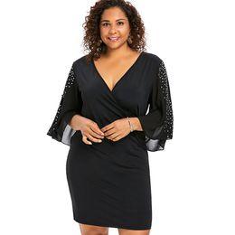 9af5aa56250 Wipalo Plus Size 5XL Flare Sleeve Overlap V Neck Bodycon Surplice Dress  Women Split Sleeve Sparkly Party Dresses Femme Vestidos