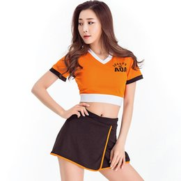 Women Costume Cheerleader UK - 2018 AOA Fans Cheerleader Costume Nightclub DS Costume Sexy Korea Style Cosplay Uniform Party Outfit Tops with Skirt 8346