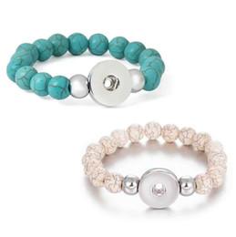 $enCountryForm.capitalKeyWord Australia - Noosa Ginger Snap Buttons Bracelet Imitated Turquoise Stone Beads Bracelets DIY 18mm Snap jewelry Strand Bangle