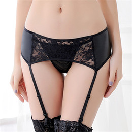 47e0771195f6 XL XXL XXL Plus Size Lingerie Sexy Black PU Leahter Garter Belt For  Stockings Sheer Lace Floral Sexy Suspenders With Thongs