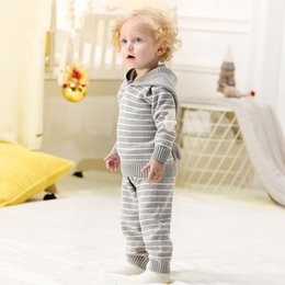 Wholesale Spring Autumn Crochet Toddler Girls Sport Suit Hoodies Pants Set Newborn Baby Outfits Winter Outwear Infant Boys Knit Tracksuits