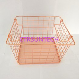 328238105 Metal Rose Gold Storage Basket Vogue Chic Nordic Elegant Double Handle Iron  Net Basket Bath Storage Desk Debris Organizer QW7998