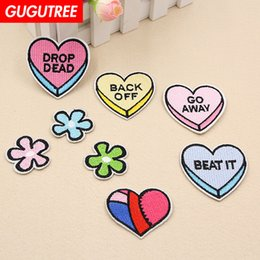 $enCountryForm.capitalKeyWord Australia - GUGUTREE embroidery love heart patches individuality patches badge patch Applique Patch for Coat,T-Shirt,hat,bags,Sweater,backpack SP-175
