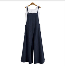 4ea204d9803 Fashion New Women Overalls Rompers Plus Size Dungarees Long Trousers Wide  Leg Pants Cotton Linen Jumpsuits Casual Playsuits
