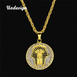 Discount pharaoh pendants - Uodesign 2018 Gold color Alloy 70cm Chain Men Egyptian pharaoh Head Pendant Rhinestone Necklace HipHop Necklace Jewelry