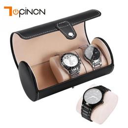 Box Jewelry Storage Organizer Black Australia - Portable 3 Compartments Cylinder Leather Wrist Watches Holder Display Storage Box Organizer Watch Boxes