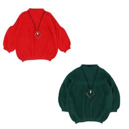 $enCountryForm.capitalKeyWord UK - Fashional Warm Soft Sweater For Kids Girls Warm Children Girl Winter Lantern Sleeves Korean Style Knitted Sweater Birthday Gift