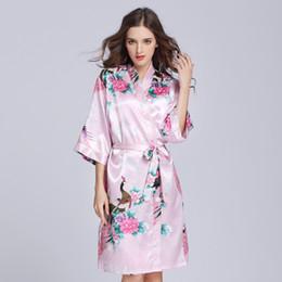 d378938af3 Silk Satin Wedding Bride Bridesmaid Robe Floral Bathrobe Short Kimono Robe  Night Bath Fashion Dressing Gown SQ27