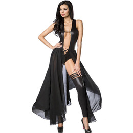 Hot Sexy Lingerie Women Costume UK - Women Sexy Lingerie Hot Lace Babydoll Deep V Neck Teddy Lady Long Dresses Sexy Backless Exotic Lingerie Dress W870575