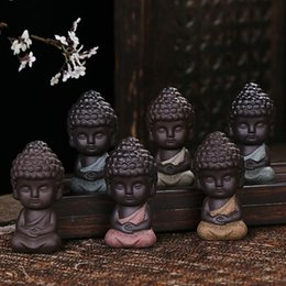 $enCountryForm.capitalKeyWord NZ - Ceramic Creative Little Monk Decorate Arts And Crafts Gift Buddha Redware For Home Tea Table Teaism Decorations Articles Many Colors 6dh ZZ