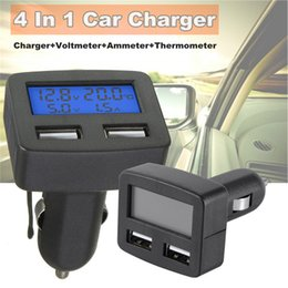 car usb 3a 2019 - Multifunctional Dual USB Interface Car Kit Charger Thermometer Voltmeter Ammeter 3A Car Cigarette Lighter Type Charger 1