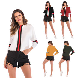 China Women's 5 Colors Crew Neck Slim Knitted T-shirts Panelled Striped Tops Hooded Long Sleeved t-shirt for Woman cheap striped shirts for women suppliers