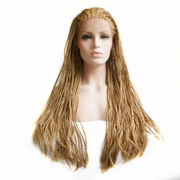 "synthetic afro hair braid 2019 - Free Shipping 26"" Afro Brown Braid Hair Glueless Synthetic Lace Front Wig Long Box Braided Wigs with Baby Hair Heat"