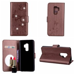 lg diamond wallet 2018 - Bling Diamond Mirror Leather Wallet For Galaxy S9 Note8 S8 (J3 J5 J7)2017 EU A5 A7 2018 Butterfly Flower Case Cover Magn