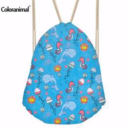 Drawstring Bags For Kids Canada - Coloranimal Cute Cartoon Printed Kids String Shoulder Backpack for Girls Boys Blue Shark Paern Children Bookbag Drawstring Bag