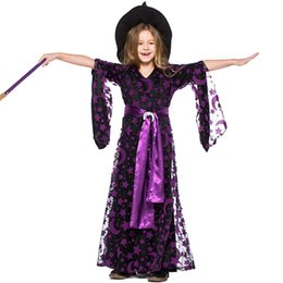 Chinese  Girls Black Star Moon Stamp Witches Dress Costumes Suit With Hat For Children Halloween Party Dress Costume Cosplay manufacturers