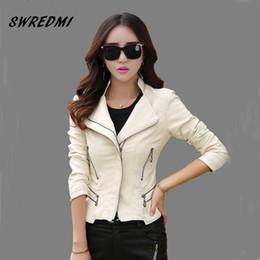 $enCountryForm.capitalKeyWord Canada - SWREDMI Fashion mandarin collar women jackets 2018 beige white leather clothing slim motorcycle leather jacket outerwear coats