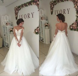 boat neck mermaid wedding dress 2019 - Wedding Dresses Mermaid Long Sleeves Illusion Boat Neck A Line Bride Gowns Backless Sexy Lace Bridal Dresses Modest disc