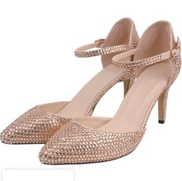 76a1a11053c New crystal pointy-headed water drill wedding shoes fine heel with diamond  encrusted bride s sandals banquet women s single shoes pumps