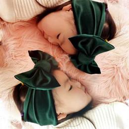 BaBy jersey knit online shopping - Baby kids Knotted inch Floppy Bow Headband Infantile girls pleuche headwraps Jersey Blend Knit cross Velvet turban