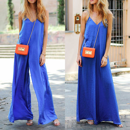 Fashion Party Jumpsuits NZ - Women new fashion party Clubwear casual V-neck spaghetti strap solid loose wide leg Playsuit Jumpsuit&Romper Trousers