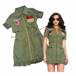 $enCountryForm.capitalKeyWord NZ - Female Police Uniform Adult Womens Sexy Top Gun Dress Army Green Costumes Halloween Party Police Costumes S19706