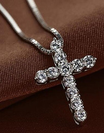 rose cross pendant silver Australia - New Fashion Cross Necklace Accessory Ture 925 Sterling Silver Women Crystal CZ Pendants Necklace Jewelry