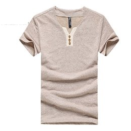 $enCountryForm.capitalKeyWord NZ - Men T Shirt Environmental Cotton Linen Casual Slim Solid T-shirts Male Thin and Short Sleeve V-neck Elasticity