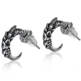 $enCountryForm.capitalKeyWord Australia - Wholesale New Arrival Fashion Male 925 Sterling Silver Dragon Claw statement Mens Biker Rocker Earring Jewelry Stud Earrings for Men