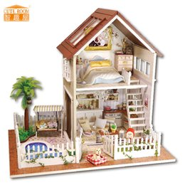 $enCountryForm.capitalKeyWord NZ - Furniture DIY Doll House Wodden Miniatura Doll Houses Furniture Kit DIY Puzzle Assemble Dollhouse Toys For Children gift A025